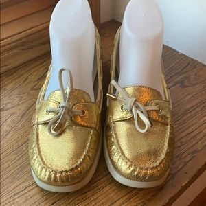 Michael Kors Gold Foil Loafers Boat Shoes